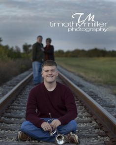 Trumpet Senior Picture with Parents, railroad track