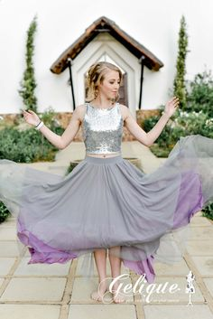 Anna skirt from Gelique. Available at Brides of Somerset. Glitter crop top. Skirt and top bridesmaids outfit. Available in a variety of colours and sizes.