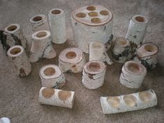 Birch Wood Candle Holders images