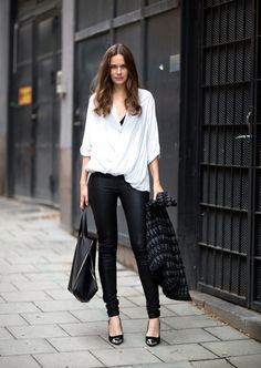 Stylish yet Simple Look | My Style ! the tight leather pants R a killer !