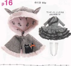 Kenner Blythe Doll Flounced Dress Cat Ears Hooded Cape and socks set pdf E PATTERN in Japanese and English Make into a little girls size