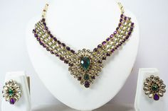 Indian Bollywood Necklace Pendant Earrings Set Gold Tone Bridal Fashion Jewelry  #Handmade