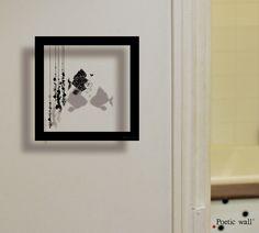 Poetic wall – Sticker Cadre Ombre « Poisson » - Sticker effet 3D – Facile à poser en un seul élément.