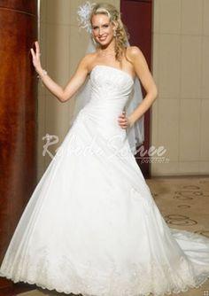 A-Line/Princess bretelles chapelle train robes de mariée en satin organza