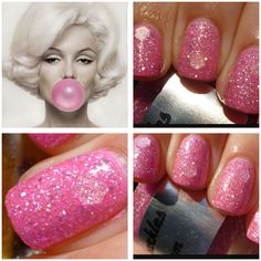 NEW Beautiful Pink Bubble Gum Custom Blended Glitter Nail Polish/... (665 INR) ❤ liked on Polyvore featuring beauty products, nail care, nail polish and shiny nail polish