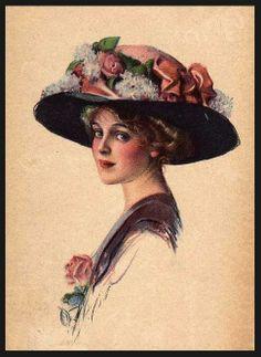 Risultati immagini per vintage women postcards illustrations Images Vintage, Vintage Pictures, Vintage Postcards, Victorian Hats, Victorian Women, Victorian Paintings, Vintage Art Prints, Vintage Girls, Vintage Beauty