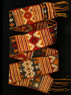 "Africa | Old wool and silk woven woman's belt ""hzam"" from the Berber tribe of the Aït Ouarda a sub-group pf the Aït Ouaozguite inhabiting the region of the Siroua between the High Atlas and the Anti Atlas mountains in Morocco"