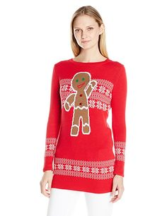 Isabella's Closet Women's Gingerbread on Fair Isle Ugly Christmas Sweater Tunic, Red, S
