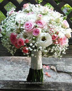 pastelowy bukiet ślubny, wiązanka, biało-różowy, roże, gipsówka, eustomy, goździki, Kraków, Magiczne Kwiaty11