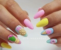 33 Explore Some Fabulous Nail Art Designs Nails became necessary fashion accessories for girls within the gift day world. From the standard styles 3d Nail Art, Fruit Nail Art, Gel Nail Art Designs, Pink Nail Art, 3d Nails, Pineapple Nail Design, Pineapple Nails, Cute Pink Nails, Pastel Nails