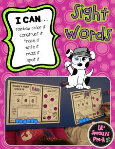 """Sight word practice for Pre-K, PreK, Kindergarten and Preschool! There is an interactive printable for 27 different sight words. My favorite part is the """"I Spot"""" section for bingo dotters. The kids LOVE them!"""