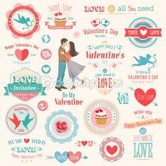 conjunto de día de San Valentín — Ilustración de stock #19003571