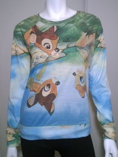 Disney Juniors' Jersey Pullover Long Sleeve Bambi Reflection Top Size M W75 #Disney #Pullovertop