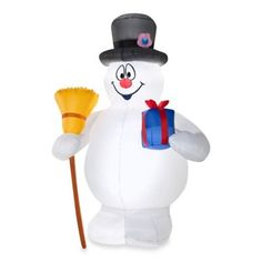 Inflatable Outdoor Frosty with Present and Broom - BedBathandBeyond.com