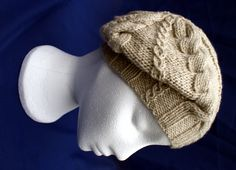 Hand knitted stylish small woollen cabled beret in 'Limestone'. Handknit hat. Knit hat. - pinned by pin4etsy.com