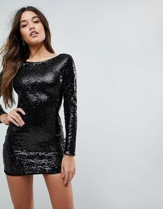Club L Long Sleeve Plunge Back All Over Sequin Mini Dress - Black Black  Sequin Dress e92708025136