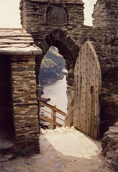 Stairway to the Sea - Tintagel, Cornwall, England.  Tintagel Castle is a medieval fortification.  The castle has a long association with the Arthurian legends, going back to the 12th century when Geoffrey of Monmouth in his mythical account of British history, the Historia Regum Britanniae, described Tintagel as the place of Arthur