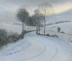Cold Morning near Moor Crichel - Nicholas Hely Hutchinson Winter Landscape, Landscape Art, Landscape Paintings, Watercolor Paintings, Watercolour, Winter Art, Winter Time, Nocturne, Winter Scenery