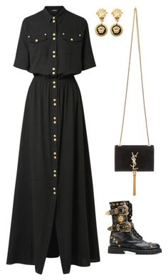 """Senza titolo #6207"" by marcellamic ❤ liked on Polyvore featuring Yves Saint Laurent, Balmain, FAUSTO PUGLISI and Versace"