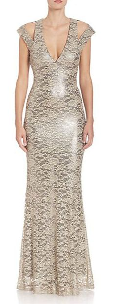 ABS Metallic Lace Cutout Gown