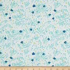 Michael Miller Wee Wander Meandering Seafoam from @fabricdotcom  Designed by Sarah Jane for Michael Miller, this cotton print is perfect for quilting, apparel and home decor accents.  Colors include white, blue, lime, mint and light teal.
