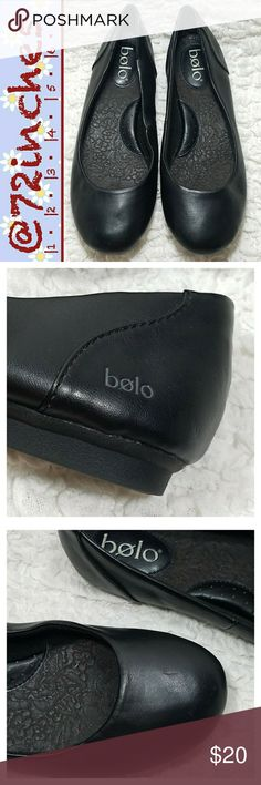 Bolo Mena Ballet Flats  Simple ballet flats go with everything from skirts to jeans.  They're must-have shoes for the no-nonsense type of girl who loves looking fashionable.  Synthetic leather upper with a lightly cushioned foot bed and arch support. EUC Bolo Shoes Flats & Loafers