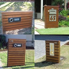 Are you looking for an alternative idea for Timber letterboxes, then check out the range of timber letterboxes that KG Landsacping & Design have created. KG Landscaping & Design on the Sunshine Coast offer a full service in Landscaping and lan House Landscape, Landscape Design, Diy Mailbox, Mailbox Ideas, Post And Rail Fence, Cool Mailboxes, Mid Century Exterior, Mailbox Landscaping, Free Standing Letters