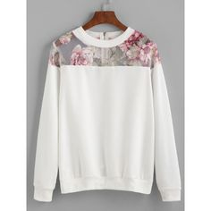SheIn(sheinside) White Florals Mesh Insert Zipper Sweatshirt ($16) ❤ liked on Polyvore featuring tops, hoodies, sweatshirts, white, white floral top, white long sleeve top, sweater pullover, polyester sweatshirt and zip pullover sweatshirt