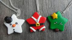 Christmas pendant in polymer clay kawaii style with chain Christmas tree snow snowman Santa Polymer Clay Ornaments, Polymer Clay Flowers, Polymer Clay Charms, Polymer Clay Creations, Handmade Polymer Clay, Polymer Clay Jewelry, Clay Earrings, Clay Christmas Decorations, Polymer Clay Christmas