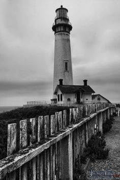 B&W of Pigeon Point Lighthouse, California by James Fike