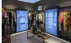H and M HQ have tested a virtual fitting room, with touchpad controls. The large life size screens allow you to swipe through available items, looking for outfit inspiration.