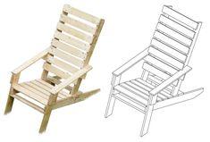 Pallet tuinstoel, bouwtekening in 3D - stoelen waarvoor maar 1 pallet nodig is.