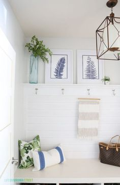 Replace leaf prints with shell, ship, or fish. Blue and Green Summer Mud Room via Life On Virginia Street