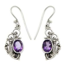 Earrings – Amethyst Earring,925 Sterling Silver,mermaid Gift – a unique product by Midas-Jewelry on DaWanda Purple Earrings, Amethyst Earrings, Amethyst Gemstone, Unique Earrings, Earrings Handmade, Leaf Jewelry, Fine Jewelry, Silver Jewelry, Jewelry Shop
