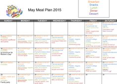 May 2015 meal plan... includes breakfast, lunch, dinner , and am snack