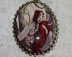 Fairy Jewelry - Snow White Fairy Necklace Glass Cameo Cabochon