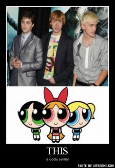 Except the personalities are way off. Tom should be the green one and Rupert should be the blue and Dan should be red. I know powerpuff.