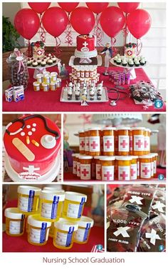 nursing school graduation party full of fab ideas.think this could work for medical school as well Planning for my sister! College Graduation Parties, Nursing School Graduation, School Parties, Graduate School, Nursing Party, Medical School, Graduation Ideas, Pharmacy School, Doctor Party