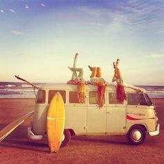 My dream...All of it. Long hair natural color,VW bus,learn to surf and live by the beach. <3