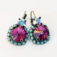 Pink Turquoise Crystal Earrings Fuchsia Aqua Blue AB by TIMATIBO