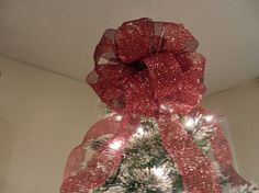 Large Red glitter mesh  Christmas Tree topper by creativelycarole, $30.00
