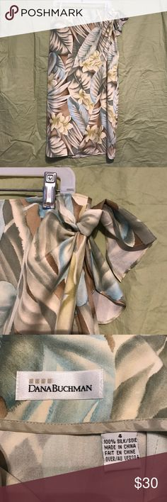 "Gorgeous palm wrap skirt Lovely summer pattern. 100% silk. Wraps with tie at side. Approx 28"" waist, 33% waist to hem. Dana Buchman Skirts Pencil"
