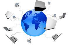 Globe and laptops.