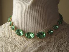 Georgian Style Collet Necklace with Graduated Vintage Glass Peridots by Dames a la Mode, $55
