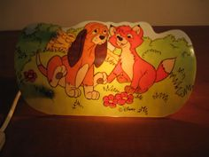 Nice old french lamp Todd & Copper from the Fox & the Hound, marked © Disney...