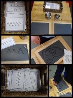 "Q-tip chalkboard writing/mark making Pattern cards (FREE printable) for mark making and early handwriting - from Rachel ("",) Preschool Literacy, Montessori Activities, Early Literacy, Preschool Activities, Writing Area, Pre Writing, Finger Gym, Card Patterns, Toddler Activities"