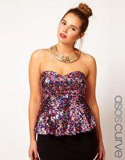 ASOS CURVE Sweetheart Peplum In Multi Sequins - Sweetheart necklines are super flattering!!