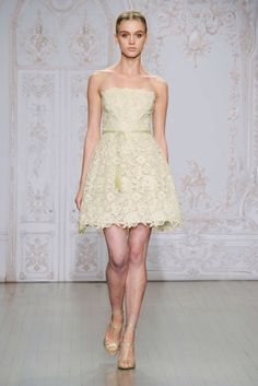 Monique Lhuillier Fall 2015 pretty ivory strapless short lace wedding with a sash belt