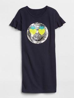 Gap Girls Sequin Graphic T-Shirt Dress Dark Night Knit Shorts, Baby Kids Clothes, Summer Kids, Summer Wardrobe, Maternity, T Shirt, Shirt Dress, Dark Night, Mens Tops