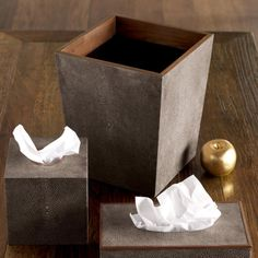 Faux Shagreen Boutique Tissue Box Holder - Mole Brown